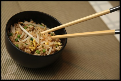 Fried Rice with Peas and Bean Sprouts