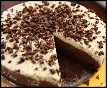 Triple-choclate mousse cake