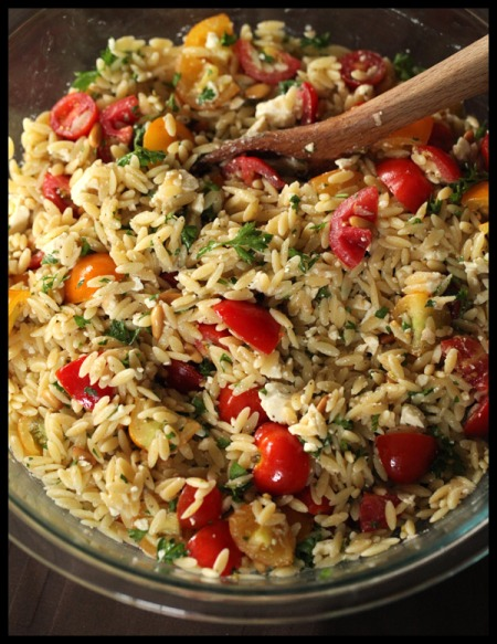 Orzo with cherry tomatoes and feta