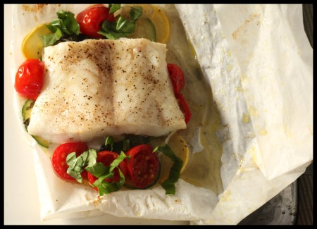 Fish with tomatoes, squash, and basil