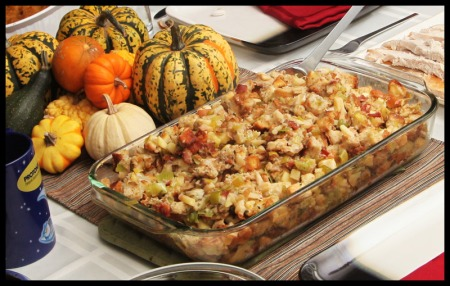 Stuffing with leeks, apples, and bacon