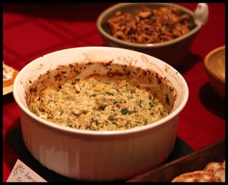 Hot artichoke-olive dip