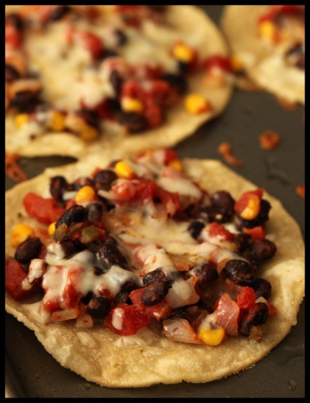 Tomato, bean, and cheese tostadas