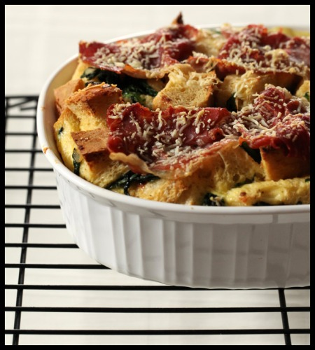 Parmesan bread pudding
