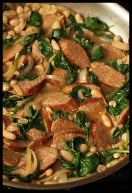 Sausage and white bean stew with spinach