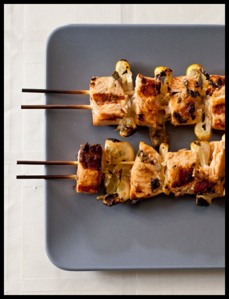 Spiced salmon kabobs