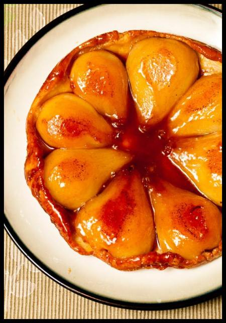 Caramelized upside-down pear tart